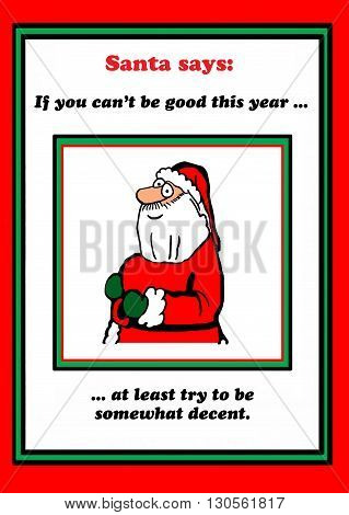 Christmas cartoon about Santa Claus asking children to behave.