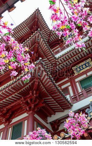 Inside architecture of the Buddhas Relic Tooth Temple in Chinatown, Singapore