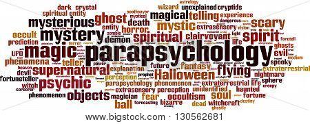 Parapsychology word cloud concept. Vector illustration on white