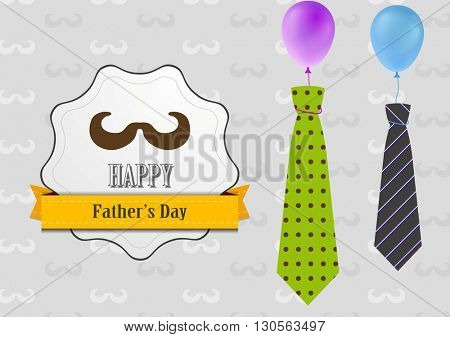 Father's Day vintage background with ties and balloons. Vintage Father's Day illustration. Father's elements