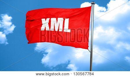 xml, 3D rendering, a red waving flag