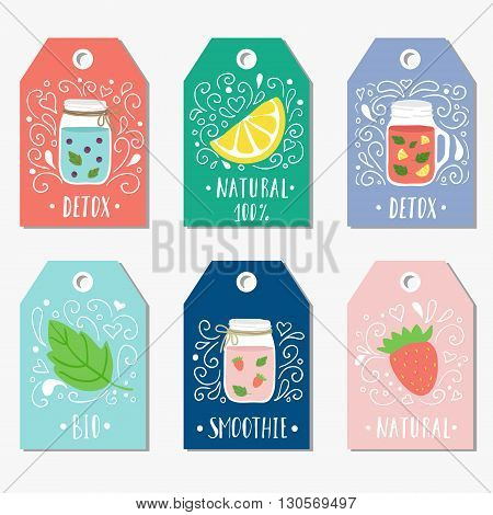 Stickers, labels, cards, tags with doodle illustrations of smooties and fruit. Detox healthy food.