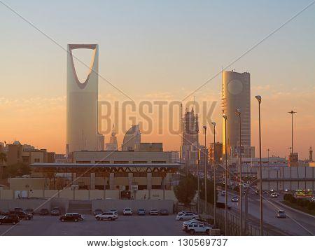 RIYADH - FEBRUARY 29: Sunrise over Riyadh downtown on February 29, 2016 in Riyadh, Saudi Arabia.