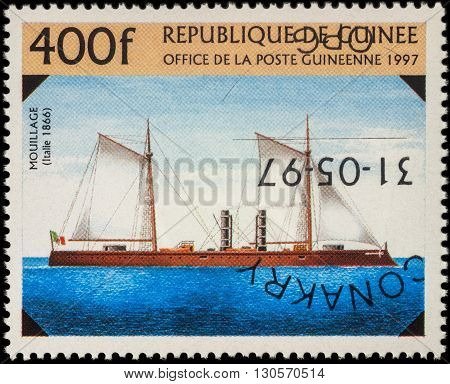 MOSCOW RUSSIA - MAY 20 2016: A stamp printed in Guinea shows old Italian warship