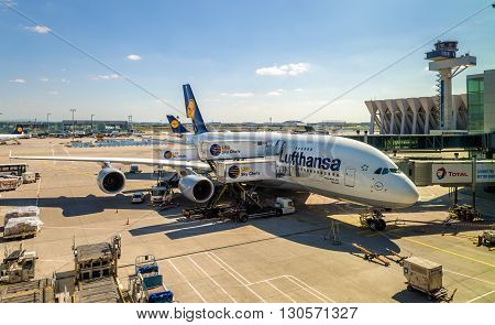 Frankfurt, Germany - February 12, 2016: Lufthansa Airbus A380 at Frankfurt International airport. It is the world's largest passenger airliner.