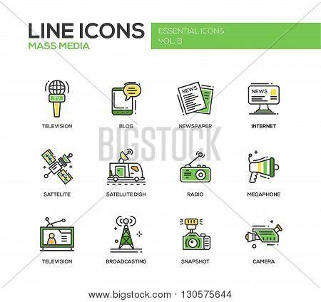 Set of modern vector line design mass media icons and pictograms. Tv, newspaper, blog, internet, radio satellite, megaphone, broadcasting, camera, snapshot