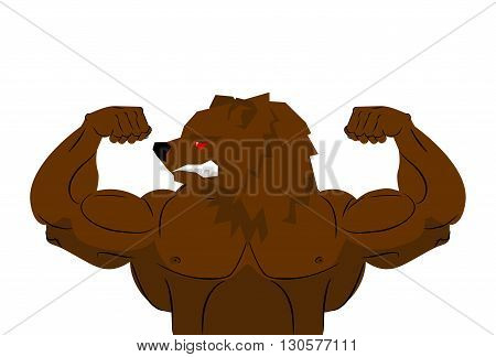 Aggressive Strong Bear Bear Athlete. Angry Animal Fitness. Wild Animal Sportsman With Huge Muscles.
