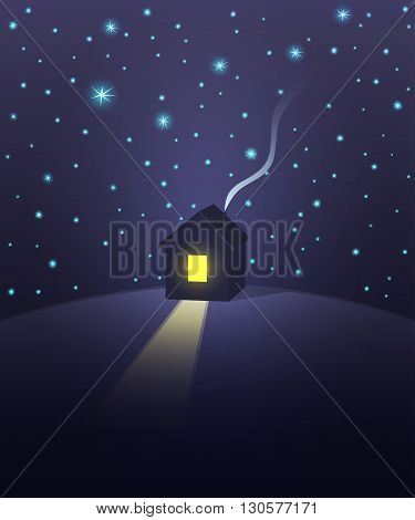 House under a starry sky. Vector illustration