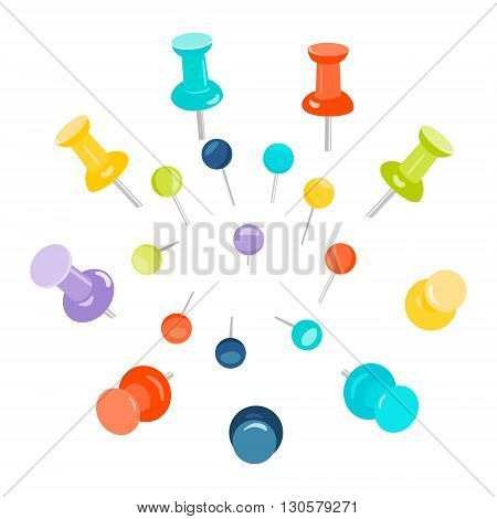Set of colored push pins on white background. Push pins for maps. Flat push pin clips. Head push pins. Thumbtacks. Pins stationery products. Needles and tacks. Vector illustration.