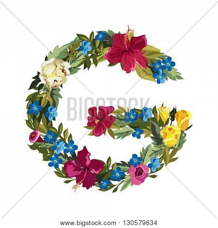 G letter. Flower capital alphabet. Colorful font. Uppercase. Vector illustration. Grotesque style. Floral alphabet.