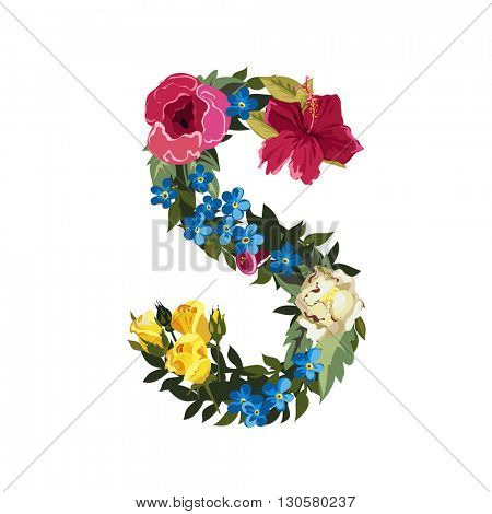 S letter. Flower capital alphabet. Colorful font. Uppercase. Vector illustration. Grotesque style. Floral alphabet.