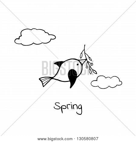 Little bird flying with sprig in its beak. Vector stylized image.