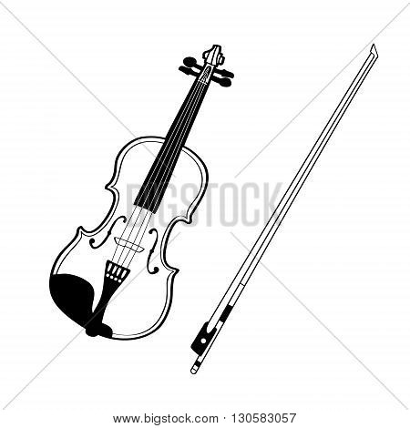 Sketch of violin isolated on white background. Vector illustration.