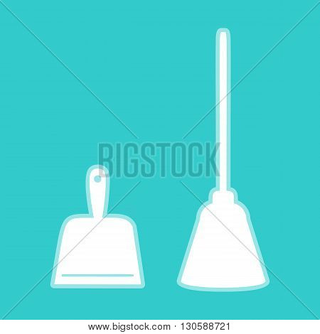 Dustpan vector icon. Scoop for cleaning garbage housework dustpan equipment. White icon with whitish background on torquoise flat color.