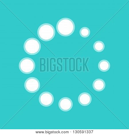 Circular loading sign. White icon with whitish background on torquoise flat color.
