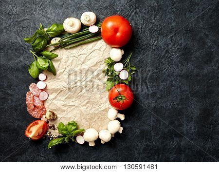 Cooking Healthy Eating Vegetarian concept. vegetables and spices on dark background. Top virw copy space