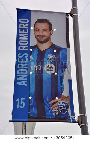 MONTREAL QUEBEC CANADA MAY 15 2016: Andres Fabricio Romero (born 21 December 1989) is an Argentine football striker currently playing for the Montreal Impact in Major League Soccer.