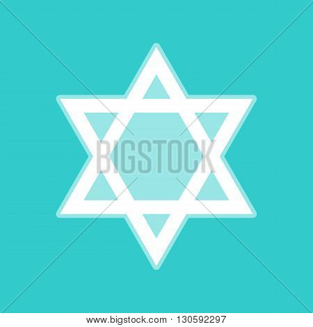 Star. Shield Magen David. Symbol of Israel. White icon with whitish background on torquoise flat color.