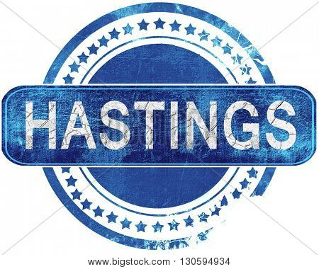 hastings grunge blue stamp. Isolated on white.