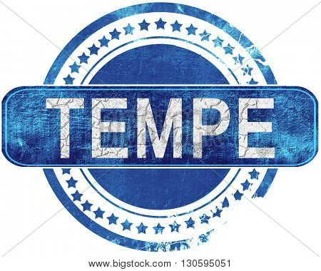 tempe grunge blue stamp. Isolated on white.