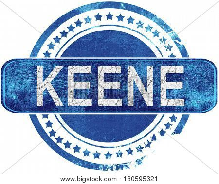 keene grunge blue stamp. Isolated on white.