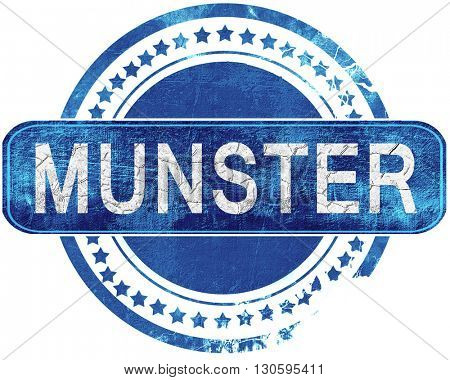 munster grunge blue stamp. Isolated on white.