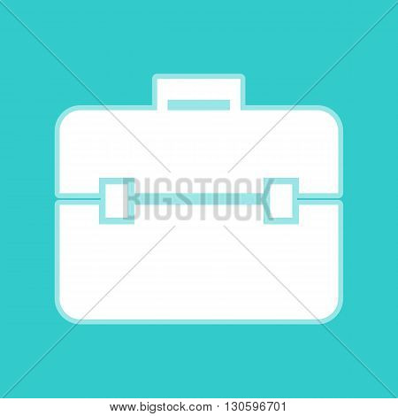 Briefcase sign. White icon with whitish background on torquoise flat color. poster