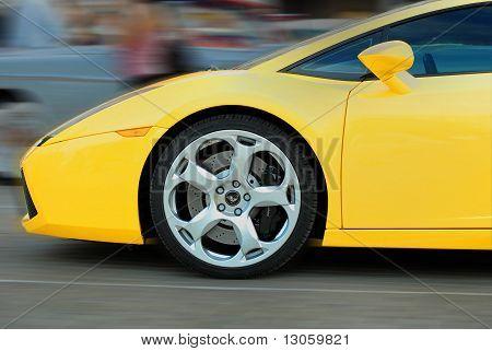 Yellow Lamborghini  On Exhibition Parking