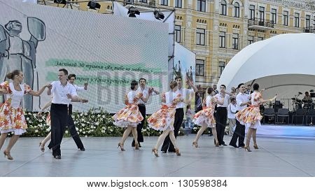 KYIV UKRAINE - CIRCA MAY 2015: Day of Kyiv on Sofia square. Students of National University of Culture and Arts performs group dance IN JAZZ RHYTHMS