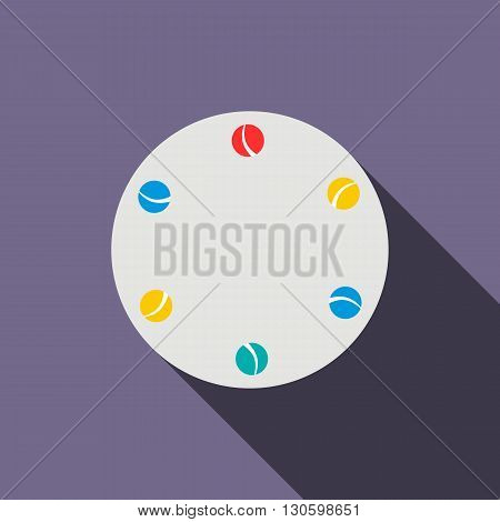 Juggling balls icon in flat style on a violet background