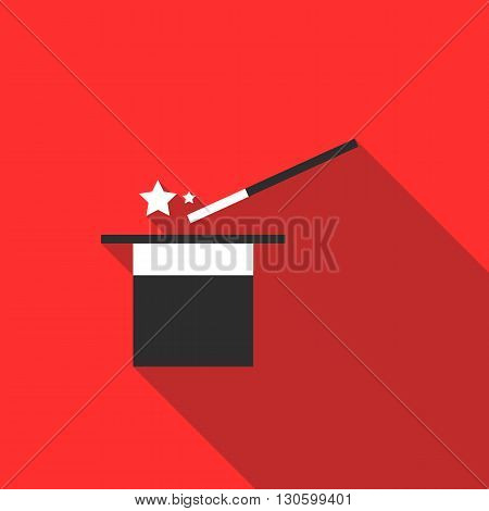 Magic hat and wand with sparkles icon in flat style on a red background