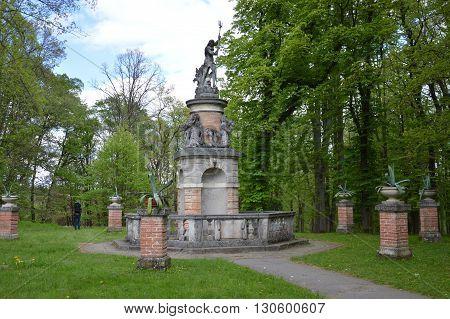 Neptune's Fountain with Statues in Konopiste, Czech Republic