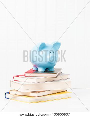 Blue porcelain piggy bank on top of a stack of textbooks.