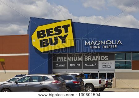 Indianapolis - Circa May 2016: Best Buy Retail Location. Best Buy sells a large array of brand-name electronics, computers, appliances & more II