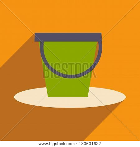 Flat with shadow icon and mobile application pail