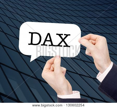 DAX written in a speechbubble