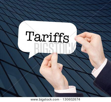 Tariffs written in a speechbubble