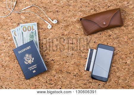 Cork Table With Travel Items