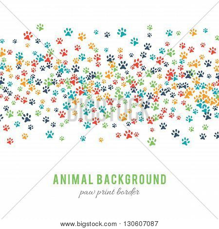 Colorful dog paw prints background isolated on white background. Paw print border design. Animalistic style. Footprint icons. Colorful pet steps. Abstract animal graphic. illustration
