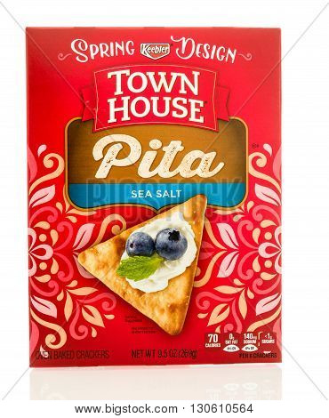 Winneconne WI - 19 May 2016: Box of Keebler town house pita crackers on an isolated background