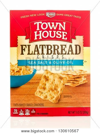 Winneconne WI - 19 May 2016: Box of Keebler town house flatbread crackers on an isolated background