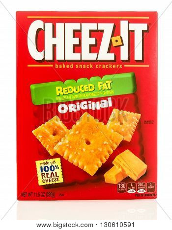 Winneconne WI - 19 May 2016: Box of Cheez it reduced fat original cheedar crackers on an isolated background