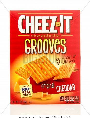 Winneconne WI - 19 May 2016: Box of Cheez it grooves original cheedar crackers on an isolated background