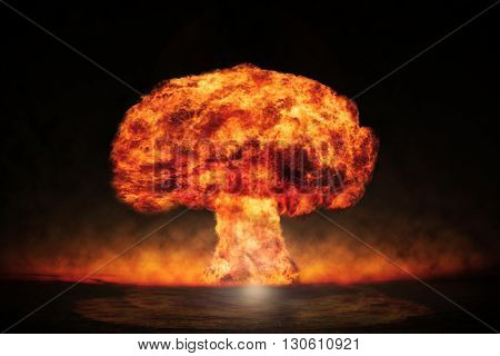 Nuclear explosion in an outdoor setting. Symbol of environmental protection and the dangers of nuclear energy
