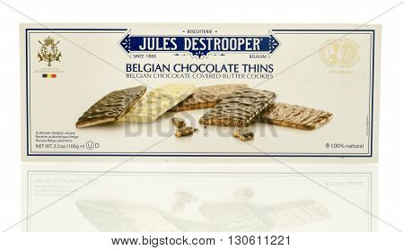 Winneconne WI - 19 May 2016: Package of Jules destrooper Belgian chocolate thins cookies on an isolated background