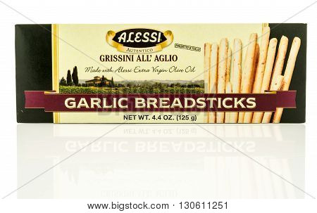 Winneconne WI - 19 May 2016: Package of Alessi garlic breadsticks on an isolated background