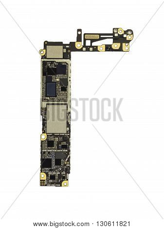 Top View of Smart Phone Circuit Board (Mother Board) without Zinc isolate on white background with Clipping Path