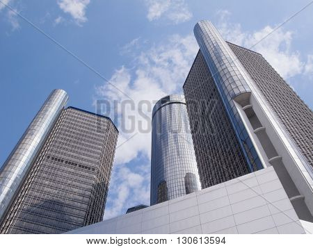 DETROIT MICHIGAN - May 3 2016. Three of the seven interconnected towers of the Renaissance Center in downtown Detroit near the Detroit River are seen in this architectural abstract. It is the world headquarters of General Motors and houses a hotel, shops