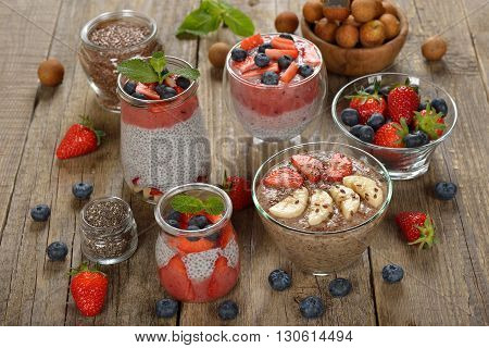 Vegan desserts with chia seeds flax and fresh berries