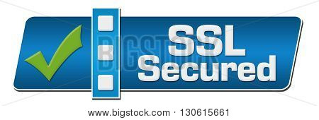 SSL Secured text written over blue background with green tickmark.